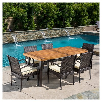 Della Rectangle Acacia Wood Dining Table   Teak Finish   Christopher Knight  Home : Target
