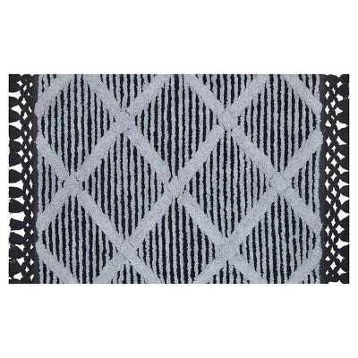 Stripe Fringe Bath Rug White/Gray - Nate Berkus™