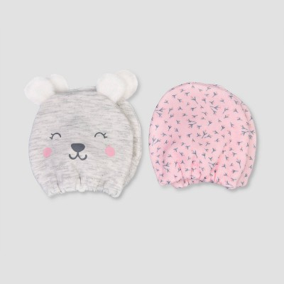Baby Girls' 2pk Bear Mittens - Just One You® made by carter's Gray Newborn