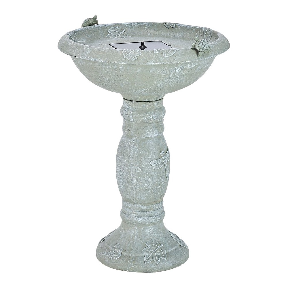 "Image of ""28.75"""" Smart Living Country Gardens Concrete Solar Birdbath"""