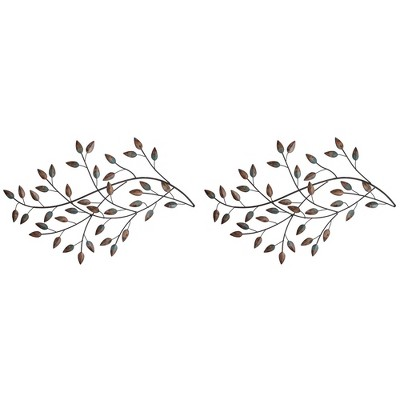 Stratton Home Decor Blowing Tree Leaves Golden Hand Painted Contemporary Modern Decorative Home Hanging Wall Art Set (2 Pack)