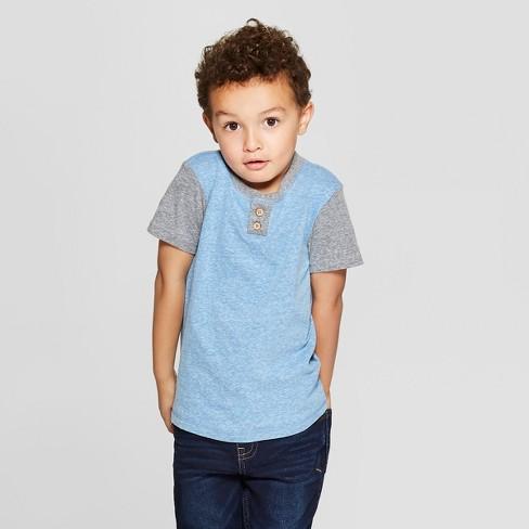 Toddler Boys' Colorblock Short Sleeve Henley - Cat & Jack™ Blue 12M - image 1 of 3