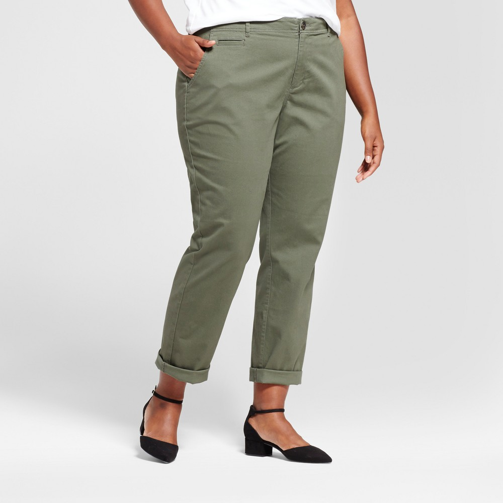 Women's Plus Size Slim Chino Pants - A New Day Olive (Green) 16W