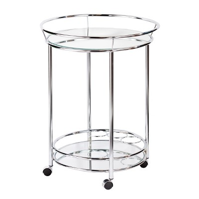 Camden Glam Rolling Bar Cart With Mirrored helve - Metallic Chrome - Aiden Lane