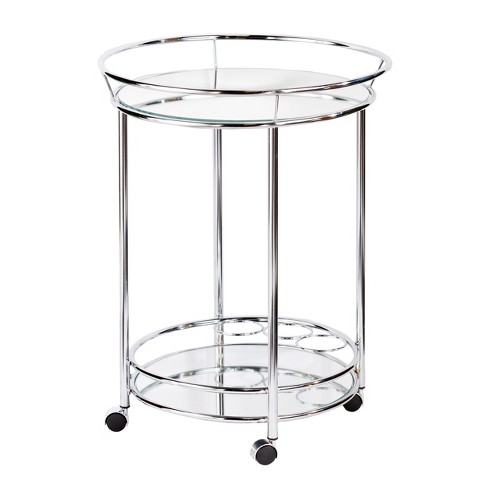 Camden Glam Rolling Bar Cart With Mirrored helve - Metallic Chrome - Aiden Lane - image 1 of 4