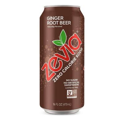 Zevia Ginger Root Beer Zero Calorie Soda - 16 fl oz Can