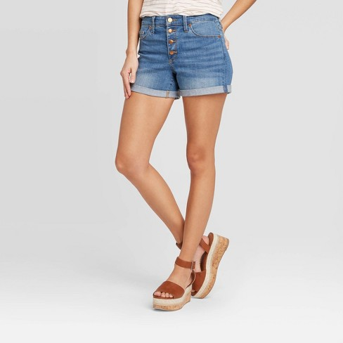Women's High-Rise Short Jean Shorts - Universal Thread™ Medium Wash - image 1 of 3