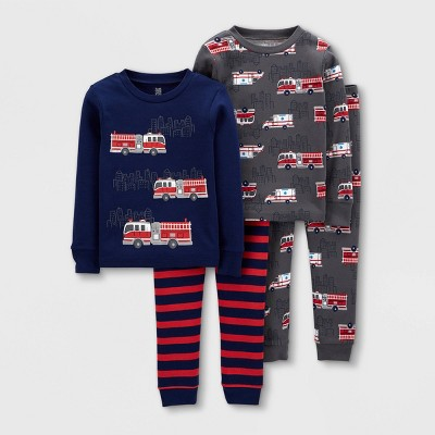 Baby Boys' 4pc Firetruck Snug Fit Pajama Set - Just One You® made by carter's Red/Navy 12M