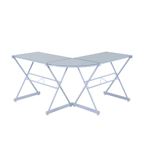 Marvelous L Shaped Glass Computer Desk White Techni Mobili Interior Design Ideas Clesiryabchikinfo