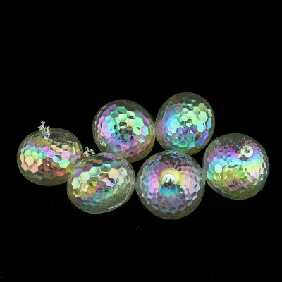 """Northlight 6ct Iridescent Shatterproof Hammered Christmas Disco Ball Ornament Set 2.5"""" - Clear"""