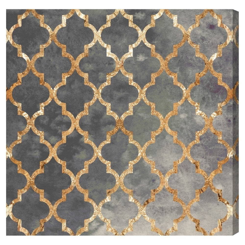"Image of ""Oliver Gal Unframed Wall """"Arabesque Gold"""" Canvas Art (20x20), Black Gold"""
