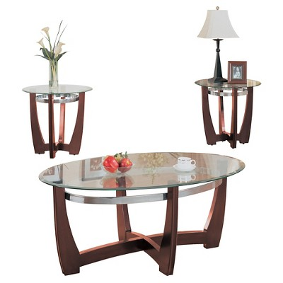 Gentil 3 Piece Baldwin Pack Coffee End Table Set Walnut And Clear Glass   ACME