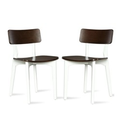 2pk Varick Two Tone Dining Chair Walnut - Novogratz