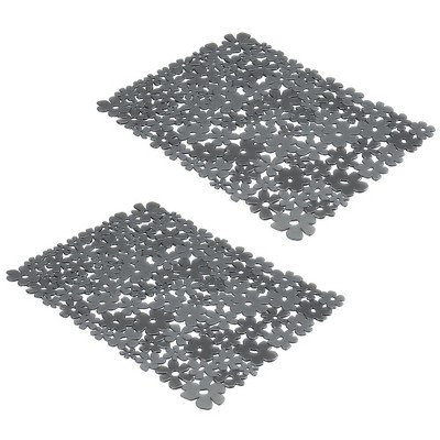 mDesign Plastic Kitchen Sink Mat/Grid - Quick Draining, Floral, 2 Pack
