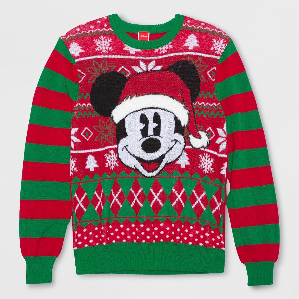 Men's Big & Tall Mickey Mouse & Friends Ugly Holiday Long Sleeve Sweatshirt - Dragon 2XLT, Green