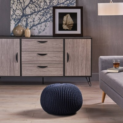 Abena Knitted Cotton Pouf - Christopher Knight Home : Target