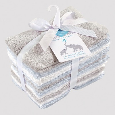 Hudson Baby 10pk Washcloth Set - Blue/Gray 0-24M