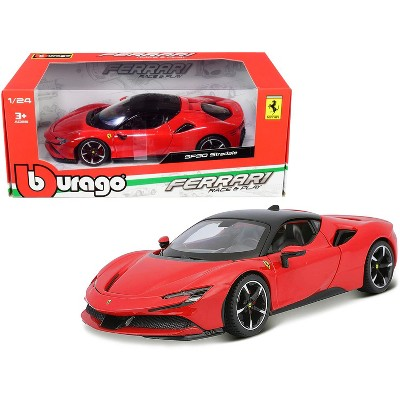 Ferrari SF90 Stradale Red with Black Top 1/24 Diecast Model Car by Bburago