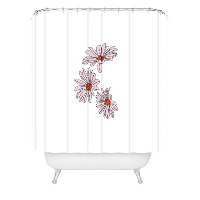 The Colour Study Daisy Illustration Bud Shower Curtain Pink - Deny Designs