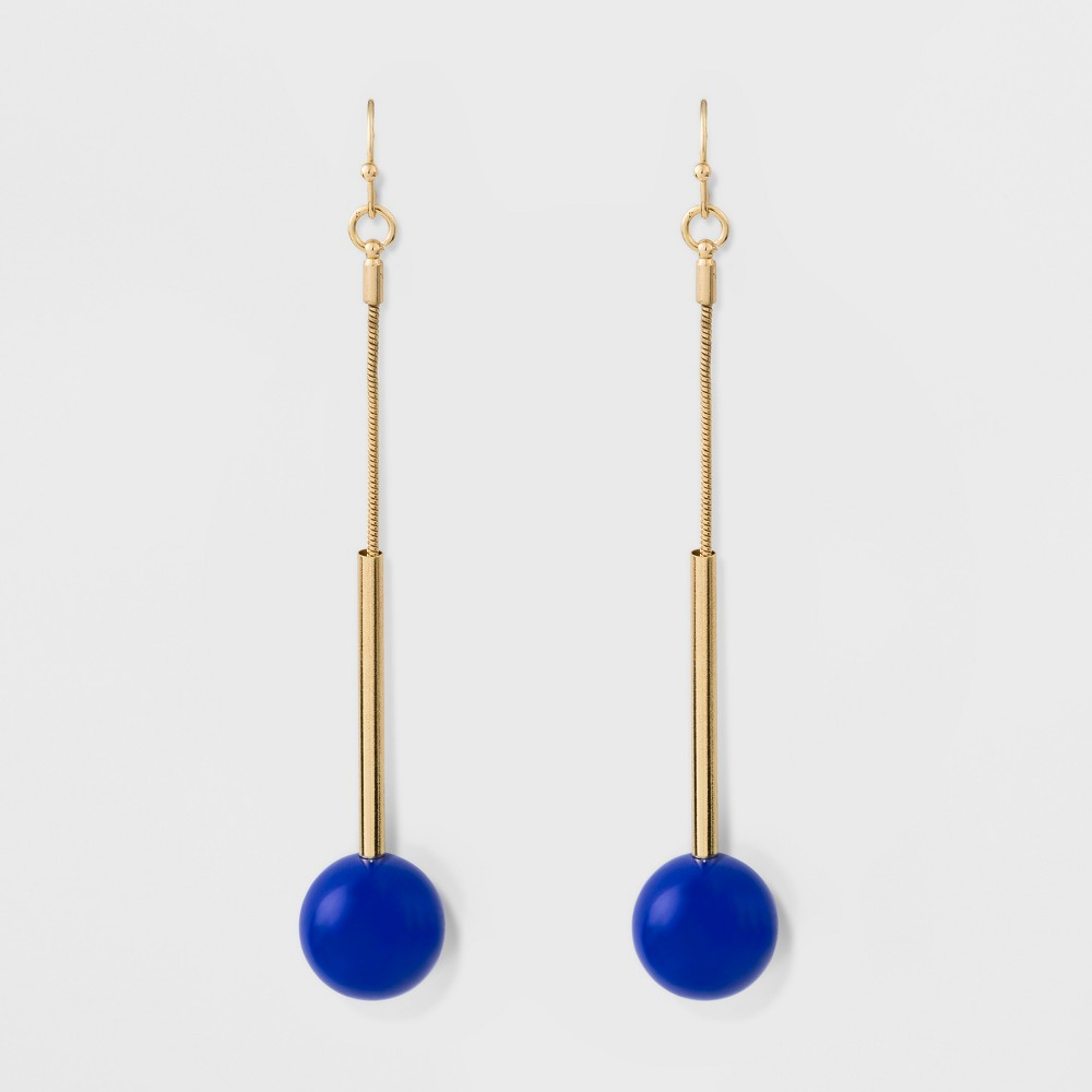 Image of Acrylic Ball Long Earrings - A New Day Blue/Gold