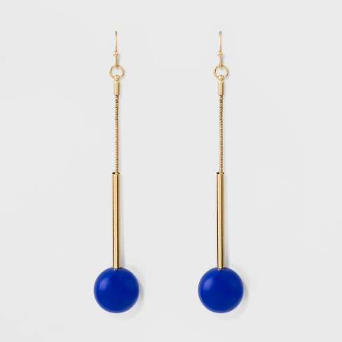 Acrylic Ball Long Earrings A New Day Blue Gold