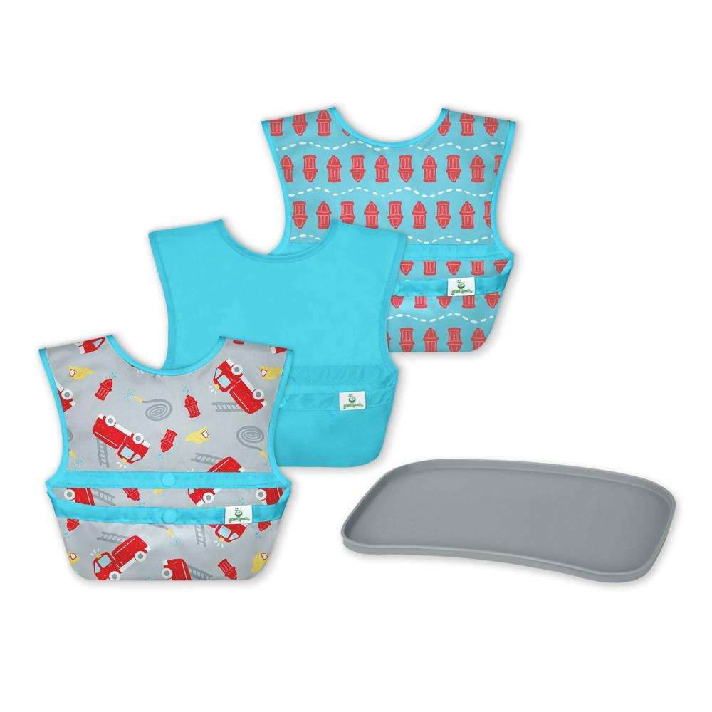 Image of Green Sprouts Baby Mealtime Set Easywear Bibs Mini Platemat Gray/Aqua - 4pc