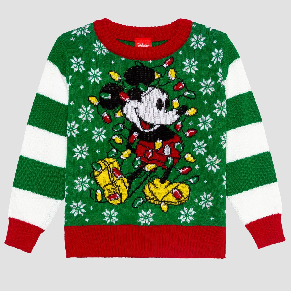 Toddler Boys' Disney Mickey Ugly Holiday Sweater - Green 5T