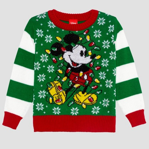 Toddler Boys Disney Mickey Ugly Holiday Sweater Green Target