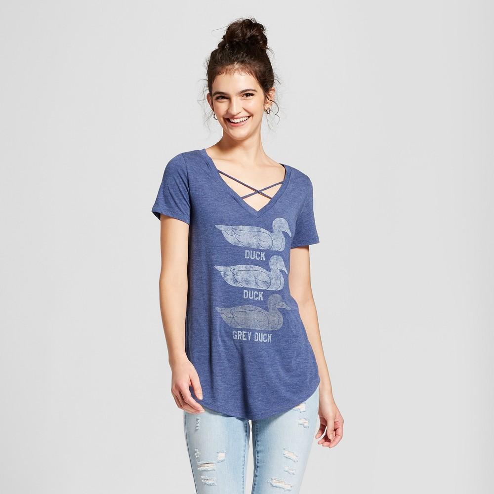 Image of Women's Minnesota Duck, Duck, Gray Duck Short Sleeve Cross Front Drapey Graphic T-Shirt - Awake Navy XL, Blue