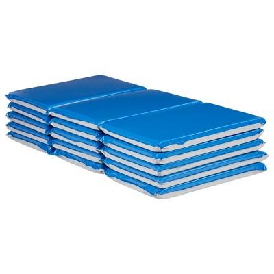 ECR4Kids Everyday 3-Fold Rest Mat, 2in Thick, Toddler Sleeping Mat, 5-Pack - Blue/Grey