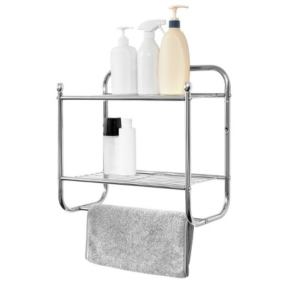 Juvale Wall Mounted 2 Tier Storage Organizer Shelf for Bathroom & Kitchen, Chrome Metal Shower Caddy with Towel Rack