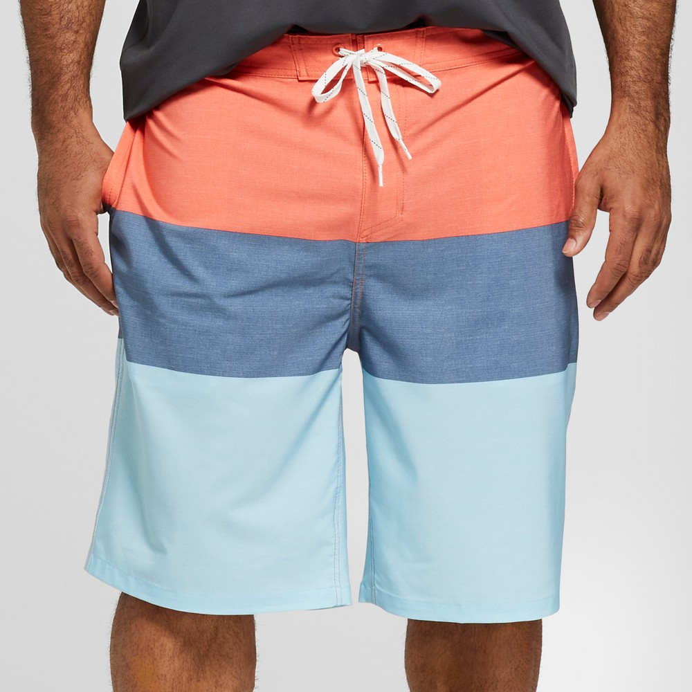 Men's Big & Tall Striped 10 Trooper Board Shorts - Goodfellow & Co Red 44 was $27.99 now $19.59 (30.0% off)
