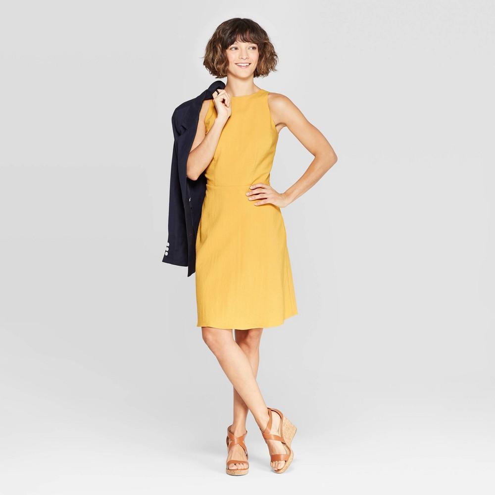 Women's Sleeveless Crewneck Linen Dress - A New Day Yellow XS
