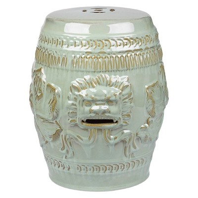 Chinese Lion Antique Teal Ceramic Garden Stool   Abbyson Living