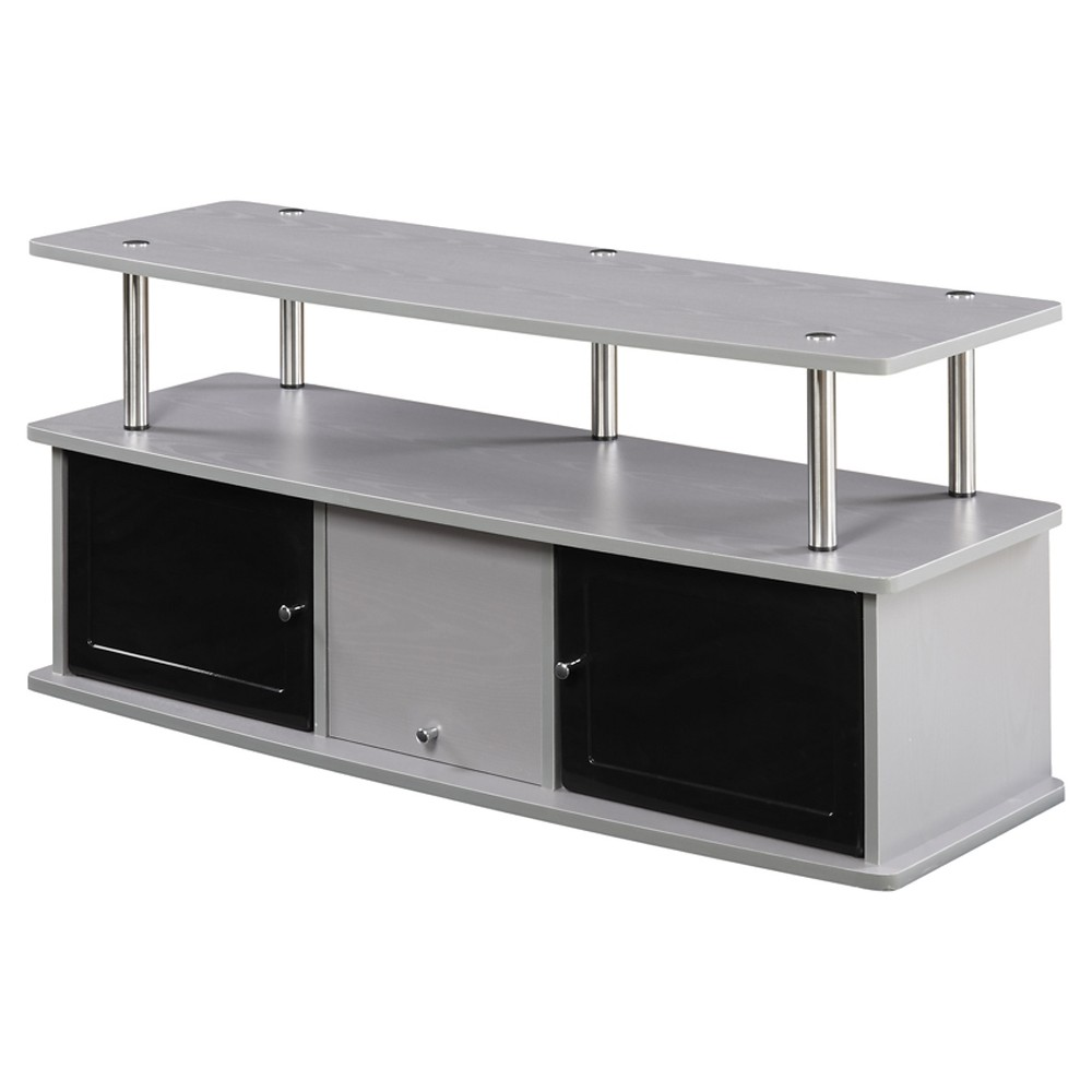 TV Stand with 3 Cabinets - Gray - Convenience Concepts