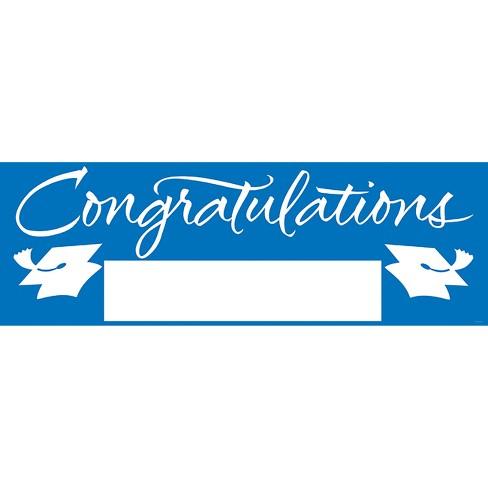 Blue Congratulations Graduation Party Banner - image 1 of 2