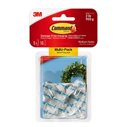 Command Medium Sized Clear Hooks with Clear Strips (5 Hooks 10 Strips)