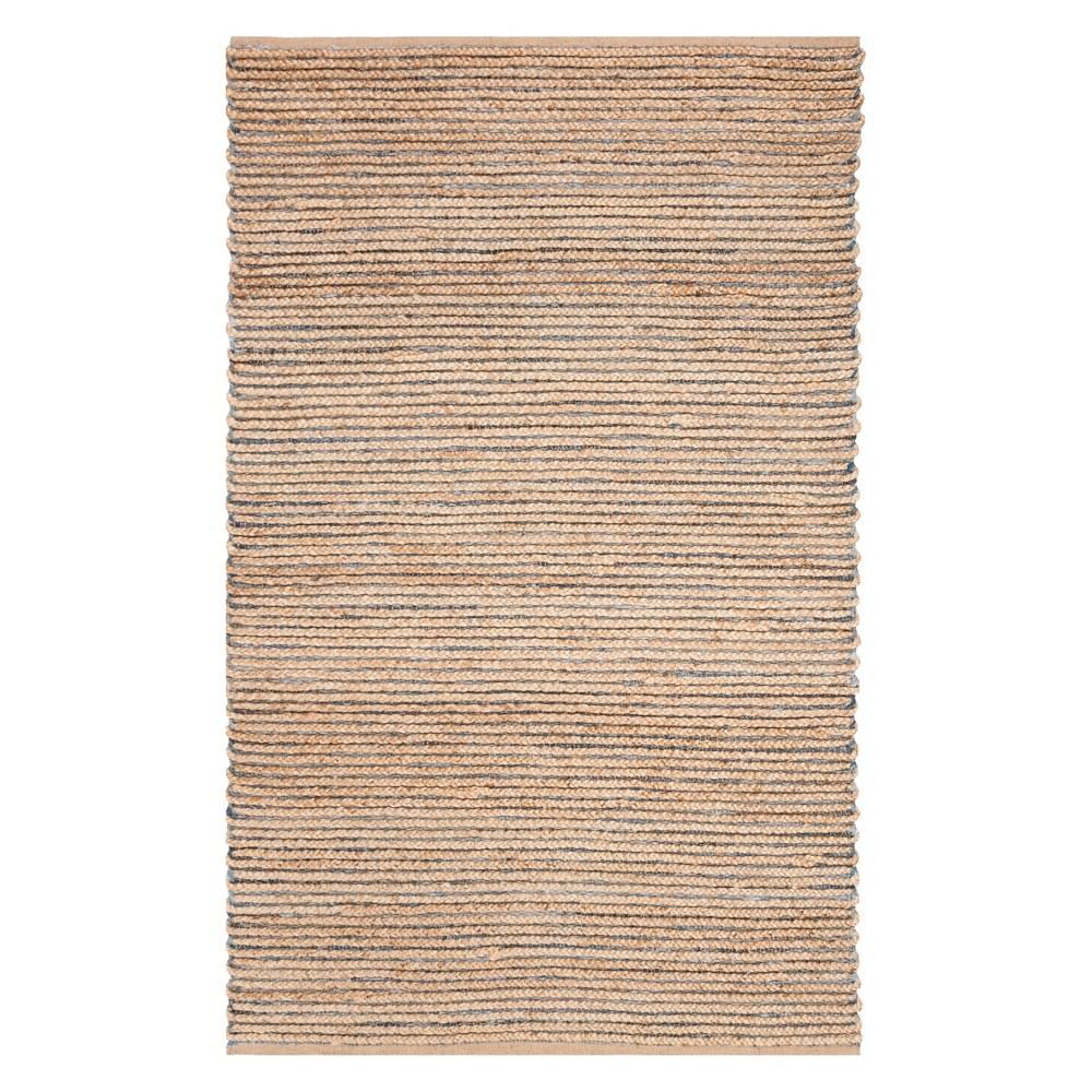 5'X8' Solid Woven Area Rug Natural/Blue - Safavieh