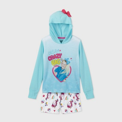 Girls' JoJo Siwa 'Dream Crazy Big' Hooded 2pc Pajama Set - Blue/White 4-5
