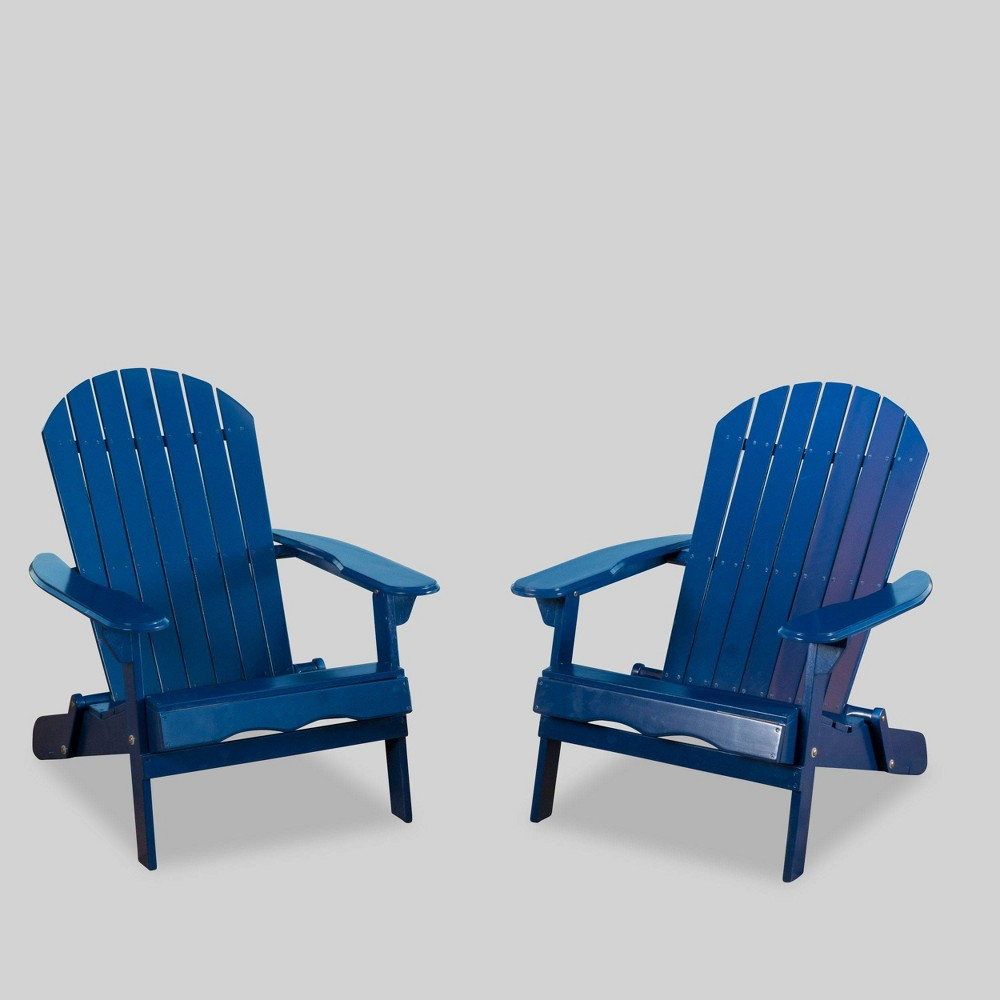 Image of 2pc Acacia Adirondack Chair - Navy - Christopher Knight Home