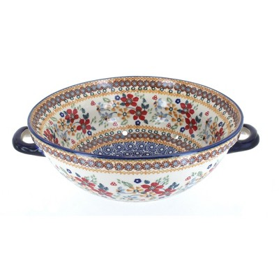 Blue Rose Polish Pottery Red Daisy Colander