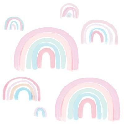 Lambs & Ivy Watercolor Pastel Rainbow Nursery/Kids Wall Decals - Pink/Mint