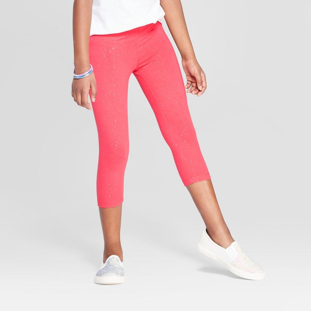 Girls' Capri Sparkle Leggings - Cat & Jack Coral XL, Orange