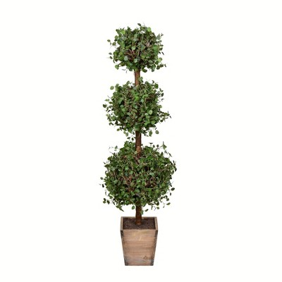 Vickerman Artificial Potted Green Triple Ball Angel Vine Topiary.