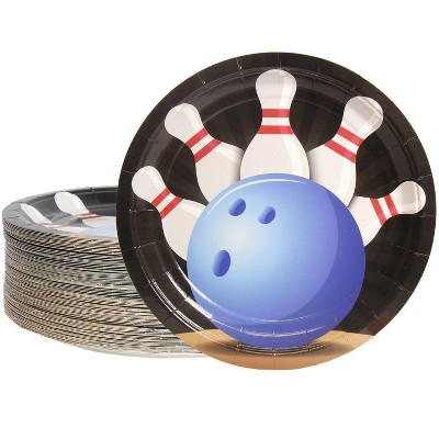 """Blue Panda 80-Count Disposable Paper Plates, Bowling Party Supplies Round 9""""x9"""""""