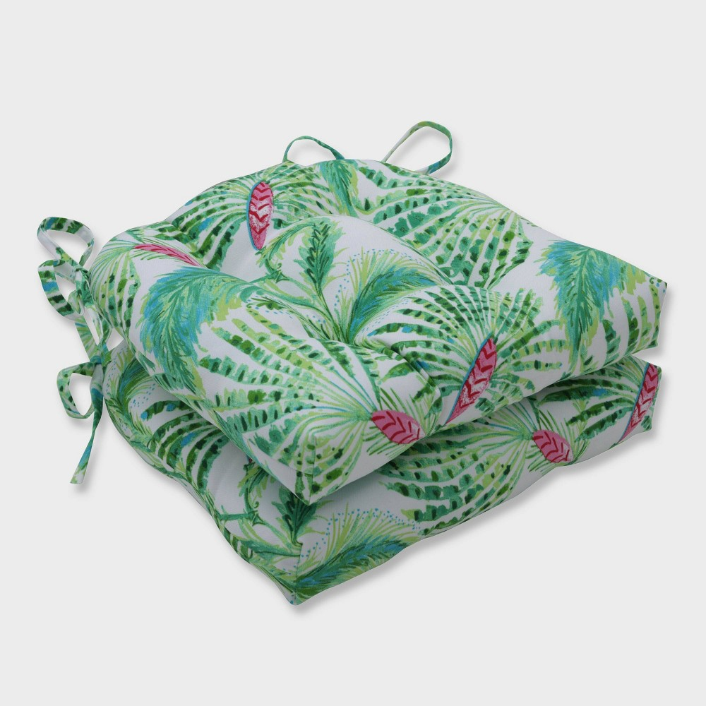 2pk Shake and Stir Tropical Reversible Chair Pads Green - Pillow Perfect