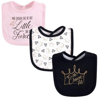 Yoga Sprout Baby Girl Cotton Bandana Bibs 3pk, Crown, One Size