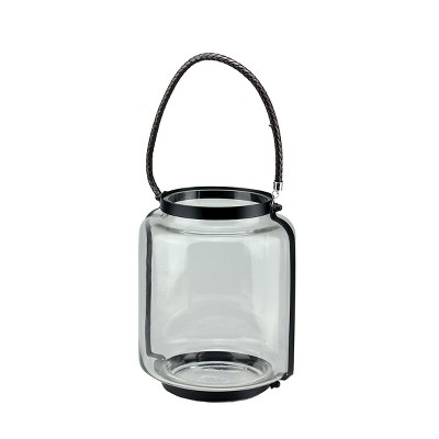 """Northlight 18"""" Clear Glass Hurricane Pillar Candle Lantern with Jet Black Metal Frame"""