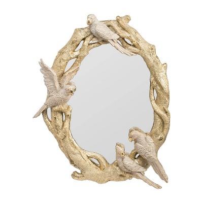 "15.5"" x 12"" Ramani Oval Bird Mirror Ornate Gold - A&B Home"