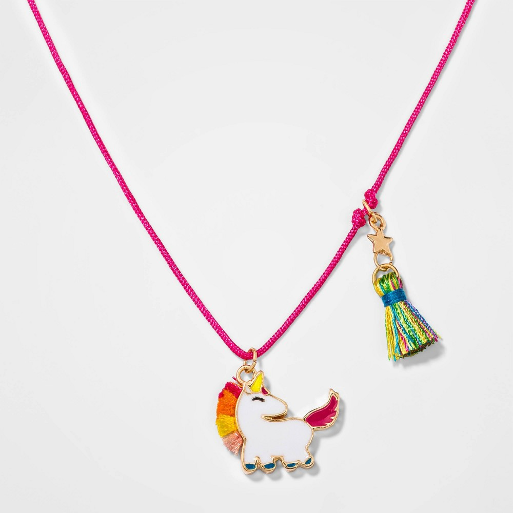 Girl Unicorn Necklace with Tael Cat Jack 8482